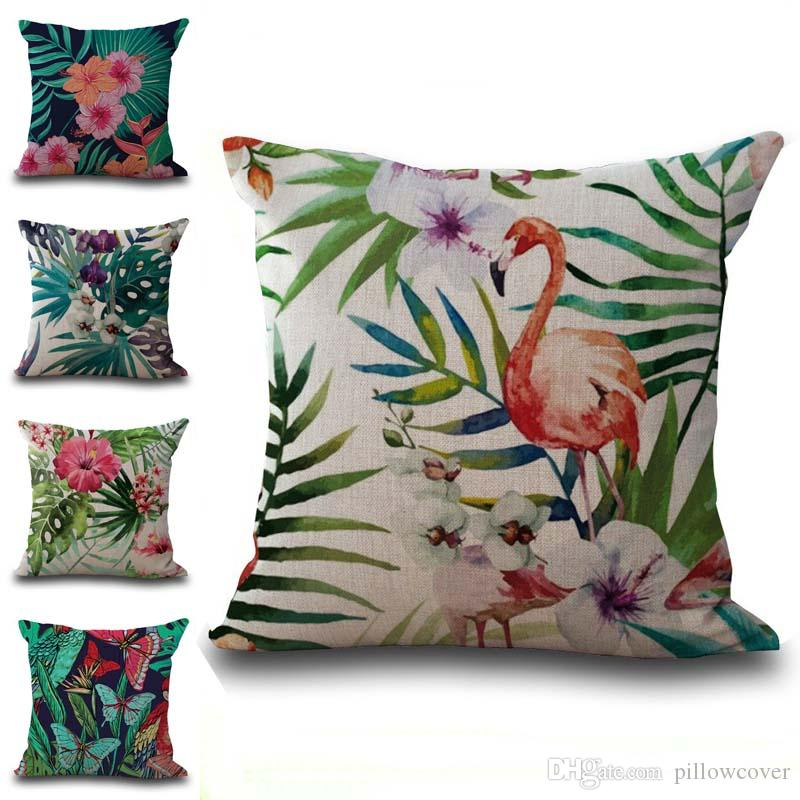 Tropical Plant Flamingo Pillow Case Cushion cover Linen Cotton Throw Pillowcases sofa Bed Pillowcover free shipping