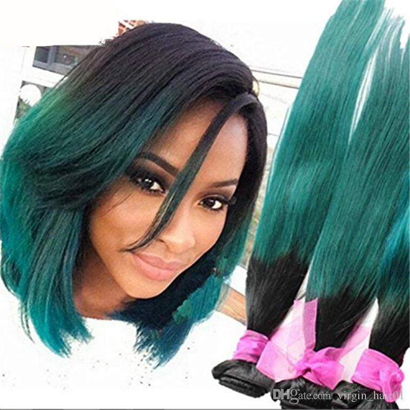 2018 1b Green Ombre Hair Extensions 9a Ombre Brazilian Human Hair