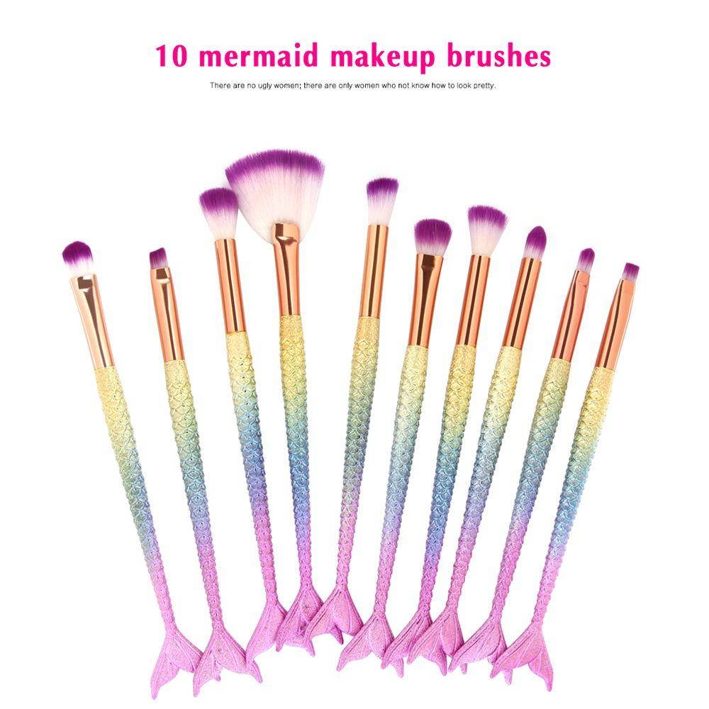 Professional / Set Mermaid Trucco Pennelli Impostare Fondazione Blacking Eyeshadow Contour Concealer Blush Strumento trucco cosmetico