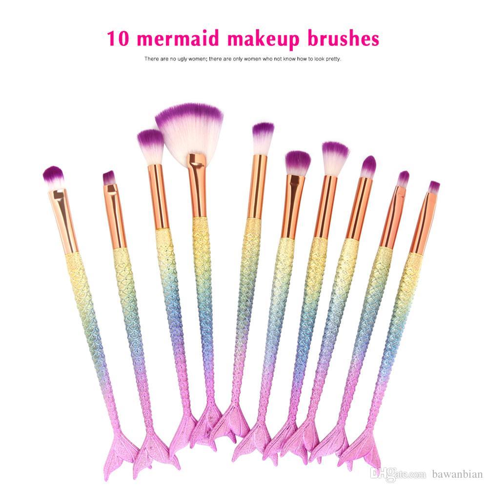 Professionale 10 pezzi / set pennelli trucco sirena set fondotinta fondente ombretto correttore correttore arrossisce strumento di trucco cosmetico