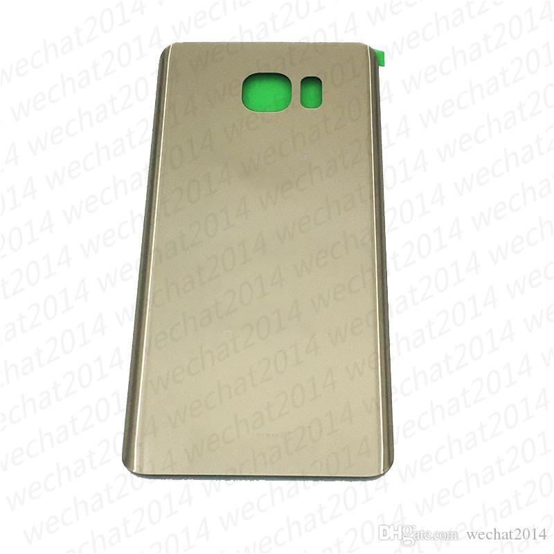 Coperchio di protezione la parte posteriore del coperchio della custodia della batteria OEM Samsung Galaxy S6 G920f S6 bordo Plus G925f G928f Nota 5 N920f con adesivo adesivo