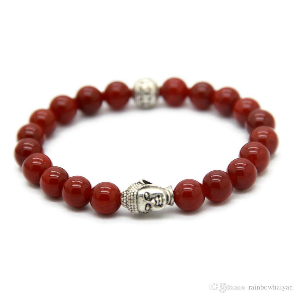 حار بيع / أساور بوذا رائعة مع العقيق الأحمر الطبيعي / الأسود، عين النمر الأصفر، حجر أبيض وشرج
