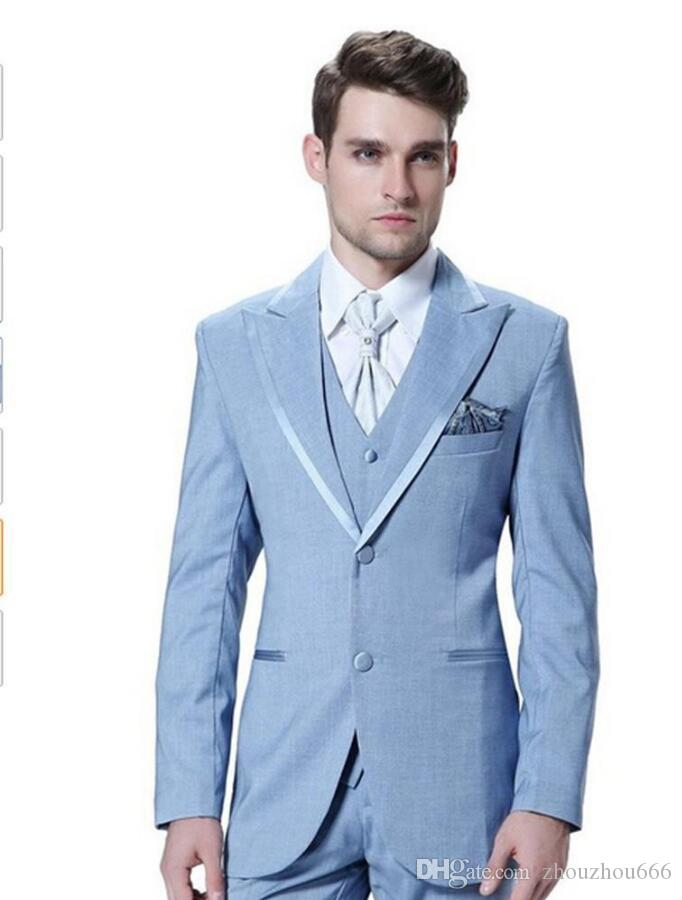 2017 Brand New Groom Tuxedos Baby Blue Groomsmen Peak Lapel Best ...
