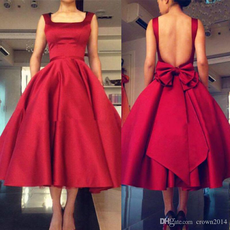 2019 Red Tea Length Satin Prom Dress Open Back With Bow Plus Size Square Neck A-line Straps Formal Evening Gowns Custom Made