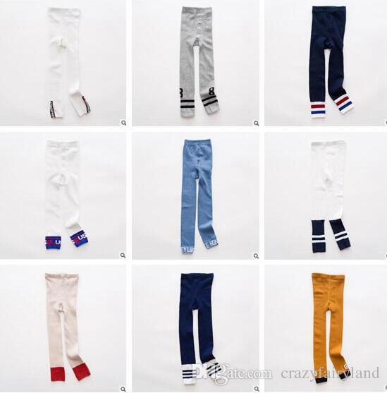 ae0d15fc5d33b Baby Girl Leggings Tights Korea Girls FALL Winter Cotton Knitted Infant Toddler  Baby Kids Leggings Girls Boys Letter Striped Legging