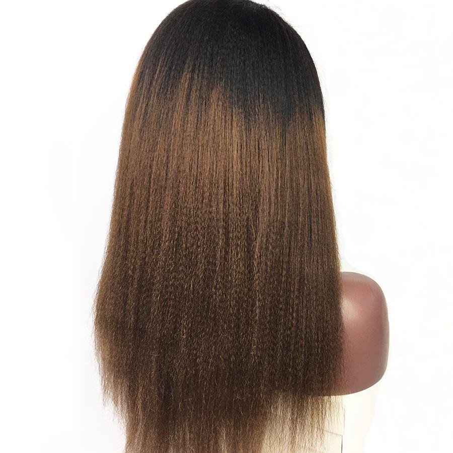 Volle Spitze-Menschenhaar-Perücken Yaki gerade Ombre T1b / 30 brasilianisches Jungfrau-Haar 130 Dichte mit Baby-Haar-Spitze-Front-Perücke gebleichten Knoten