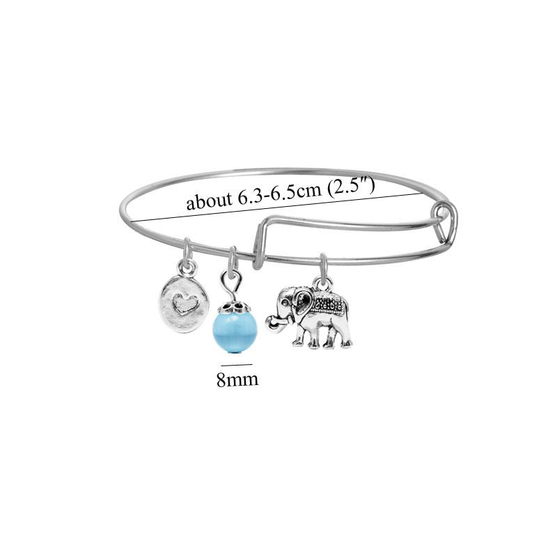 2017 new blue crystal bead expandable wire bracelet silver elephant bracelet women bangle animals communion gifts for sister or daughter
