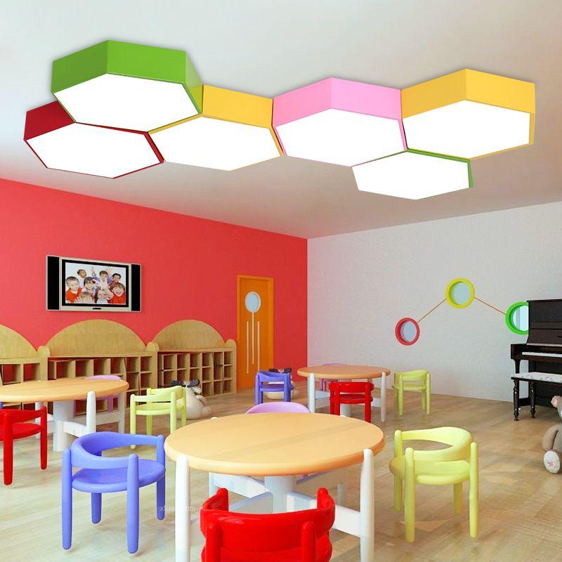 Yaratıcı renk altıgen eğitim merkezi çalışma led tavan lambası anaokulu tavan ışıkları eğitim merkezi giyim mağazası ofis LED lambalar