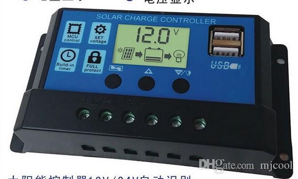 Nowy sterownik słoneczny 10A 20A 30A Solar Power System 12 V / 24 V Automatyczna identyfikacja F01