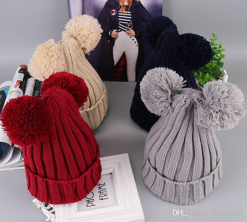Cute Ears Beanies Pom Pom Crochet Kids Hats Girls Fashion Handsome Big Boys  Hats And Caps Winter Knitted Hats Casual Cap UK 2019 From Sports8686 599f8721f92