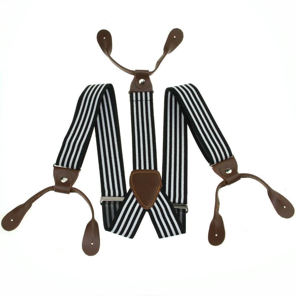 9e146499c Wholesale New Mens Adjustable Button Holes Unisex Suspenders Black White  Stripe Womens Braces BD760 Lingerie Shop Lingerie Uk From Zhijin