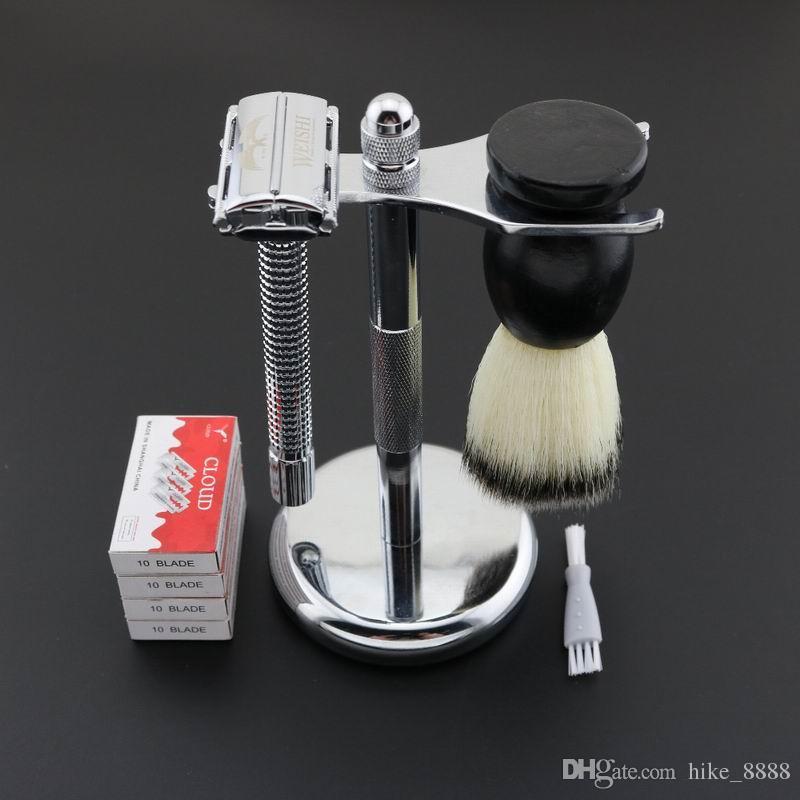 WEISHI máquina de afeitar de seguridad Sclassic máquina de afeitar ajustable para hombres cara removedor de pelo mango largo aleación de Cobre cromo brillante 9306-FL / LOTE NUEVO