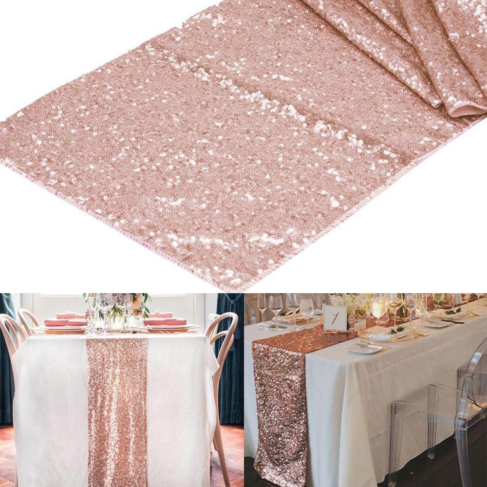 Wholesale 12x108 Rose Gold Champagne Sequin Table Runner 30x275cm