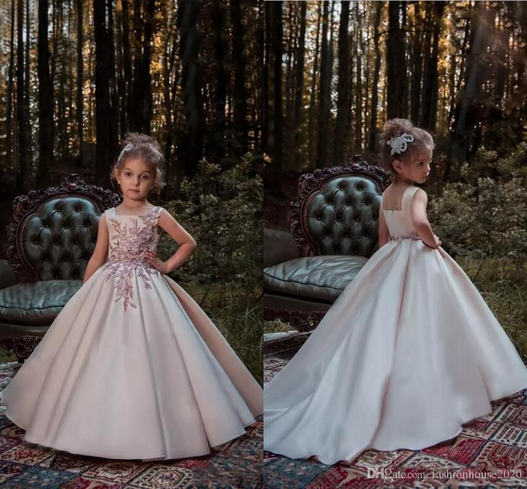 1bfe0474c4e 2017 Princess Flower Girls Dresses For Wedding Blush Pink Lace Applique  Beads Satin Sweep Train Party Birthday Dress Child Pageant Gowns Toddler  Wedding ...