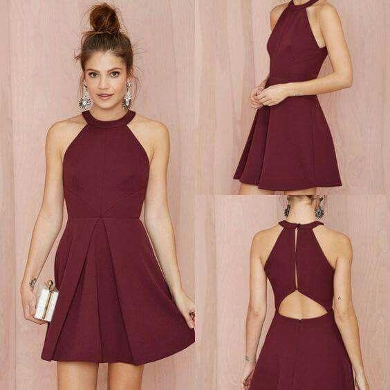 Elegant Burgundy Short Cocktail Dresses Halter Mini Evening Dress ...