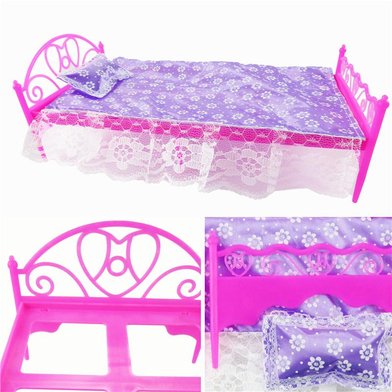 3 ItemsDolls Furniture Bed Pillow Lace Bed Sheet Doll Accessories Barbie  Play House Toy For Barbie Dolls Children S Toys Toy Baby Doll Accessories  Baby Doll. 3 ItemsDolls Furniture Bed Pillow Lace Bed Sheet Doll Accessories