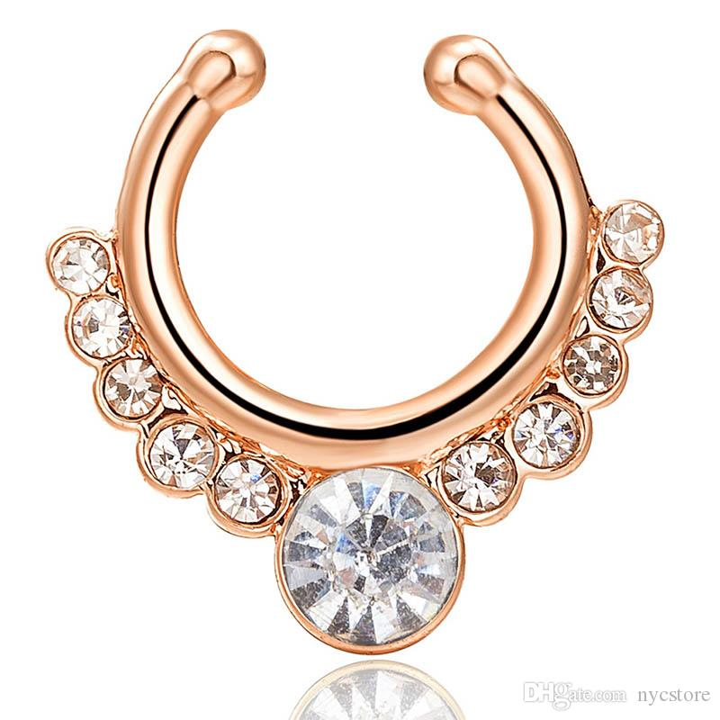Nose Ring Crystal Nose Hoop Nose Rings Body Piercing Jewelry Fake Septum Clicker Non Piercing Hanger Clip On Women Body Jewellry