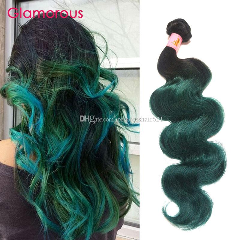 Glamorous Remy Hair Extensions Two Tones Color Hair Weave Green