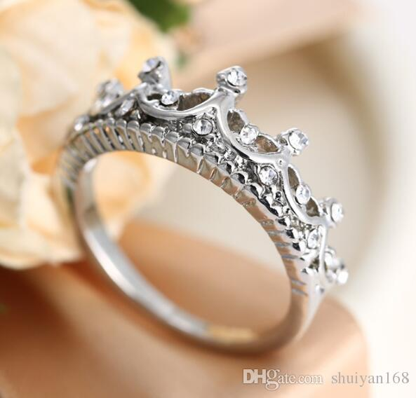 Anillo de la corona de DHL Anillos de diamantes para mujeres Palacio que restaura maneras antiguas El temperamento de la reina Anillos de plata para mujeres Compromiso
