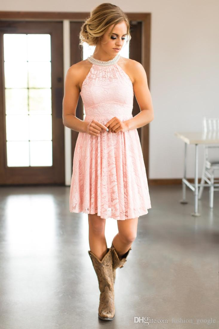 Envío rápido de los vestidos de dama de honor de encaje 2017 con cuentas de cuello alto Zip Back Mint Blush Champagne Short Junior de dama de honor vestido En Stock Homecoming