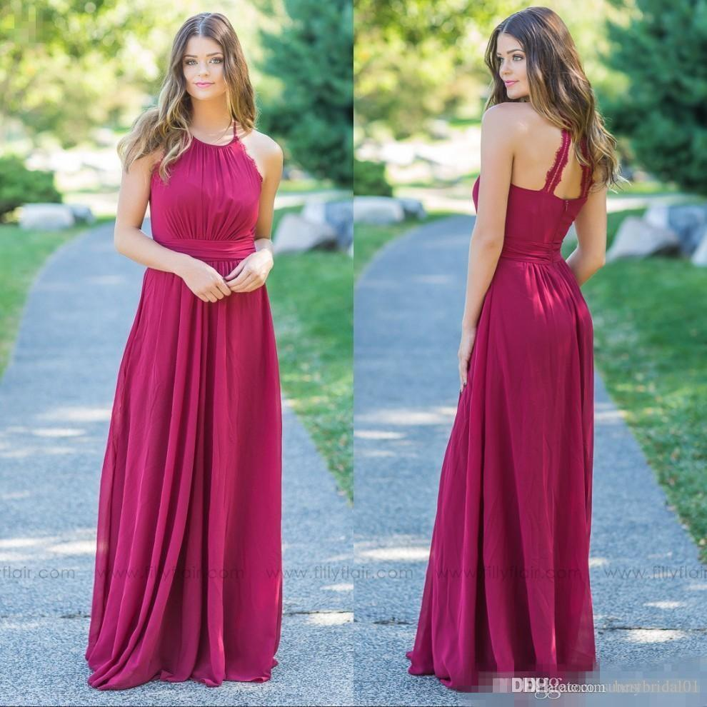 Princess Chiffon Summer Burgundy Red Bridesmaid Dresses With Belts ...