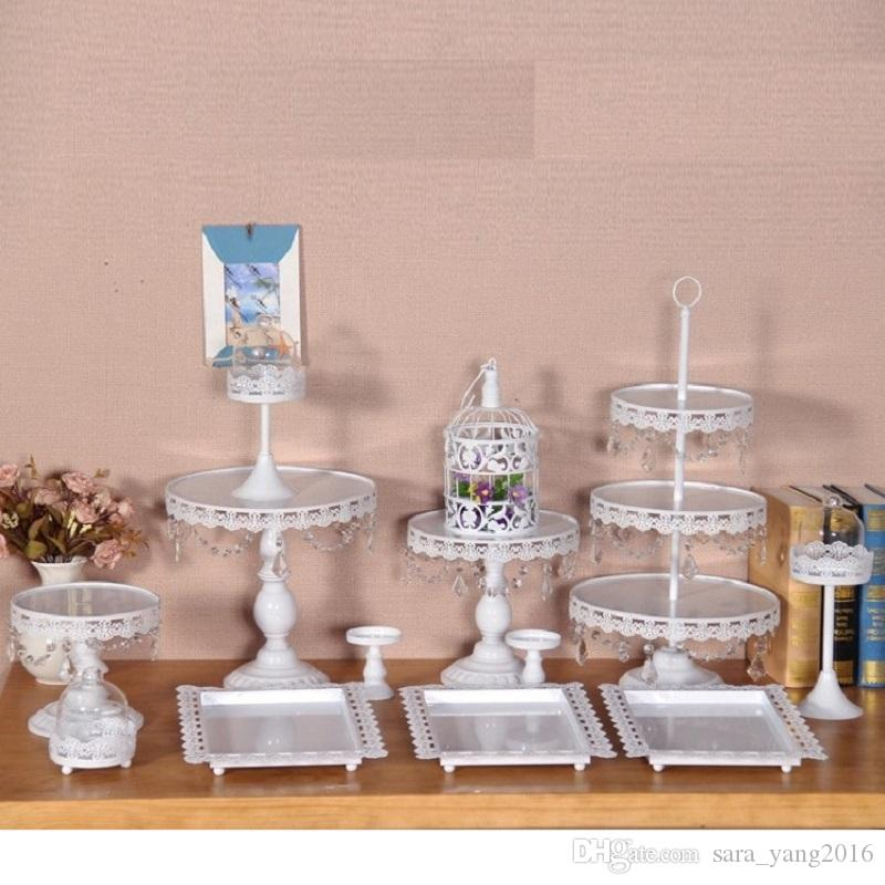 set of white cake stand wedding cupcake stand set crystal candy bar decoration wa2687 party supplies online party supplies online shopping from