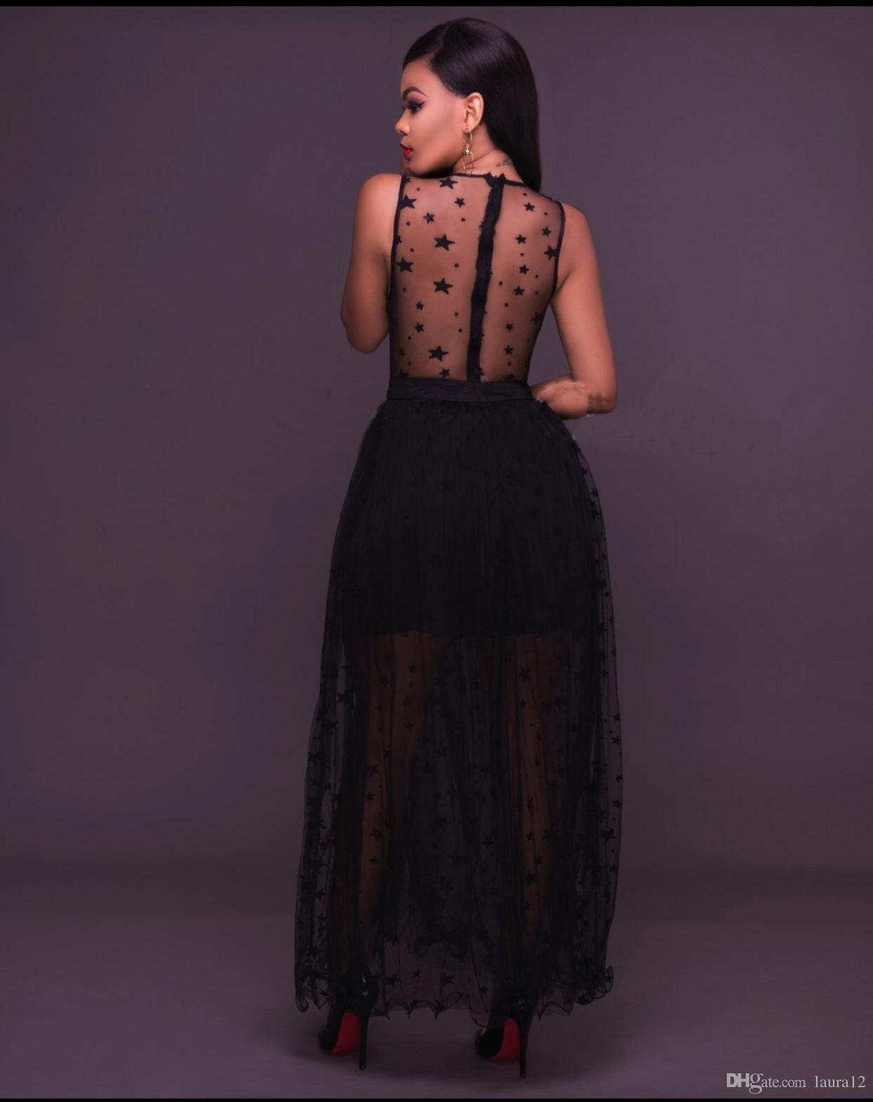 2017 New Black Lace Applique A line See Through Sexy Women Party Dresses Star Printed Tulle Ankle Length Lady Gowns In Stock S--XL