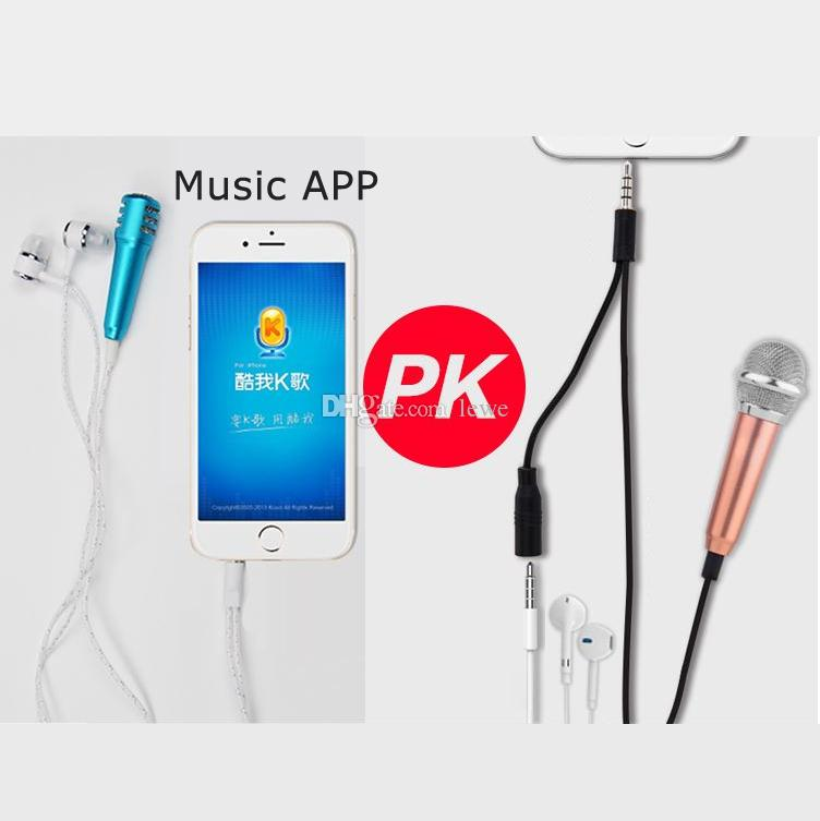 New product hot selling KTV microphone speaker headphones stereo earphones with mini microphone for iPhone Android mobile gift box packing