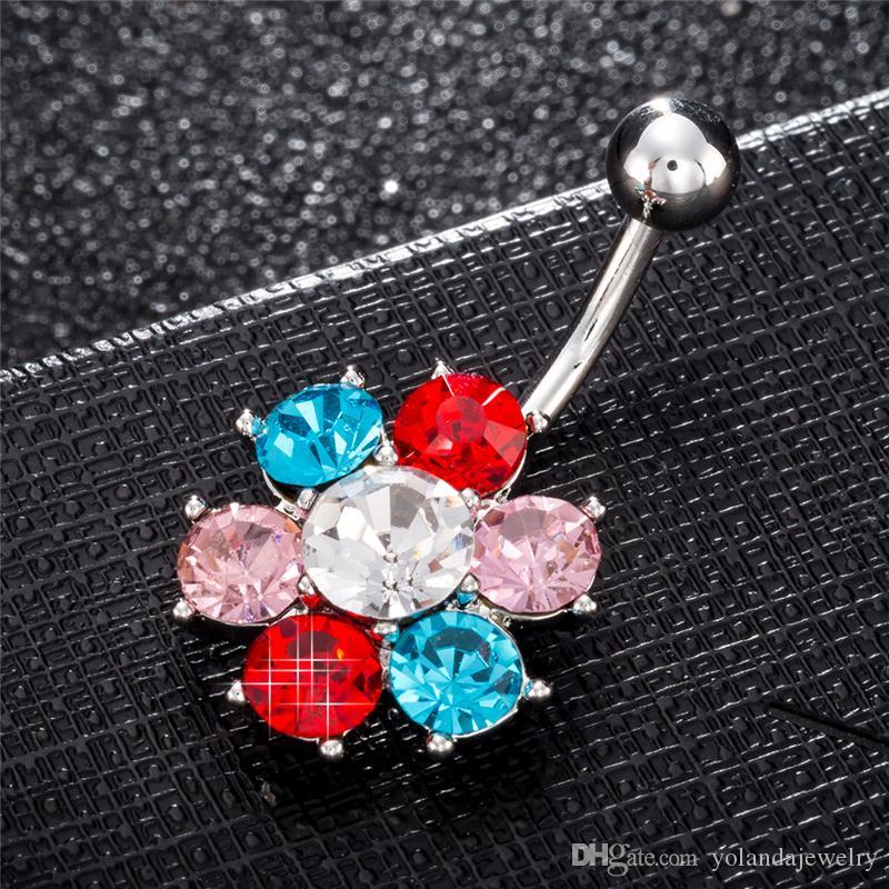 Beyaz Altın Yaylı Paslanmaz Çelik Topu Halter Kavisli Renkli Kristal Çiçek Göbek Belly Button Yüzükler Barlar Piercing Takı