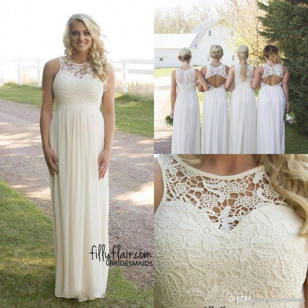 2016 Cheap Spring Summer Plus Size Country Style Bridesmaid Dresses Lace  Top High Waist Maternity Chiffon Long Garden Beach Dresses