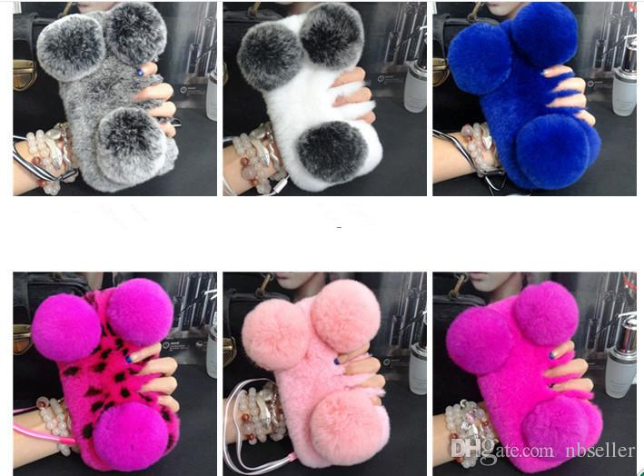 Cute 3D PANDA Real Rex Rabbit soft Fur Phone cover Case For Iphone 7 6 6S Plus 5C Samsung Galaxy Note 5 4 S7 S6 Edge S5 S4 s8