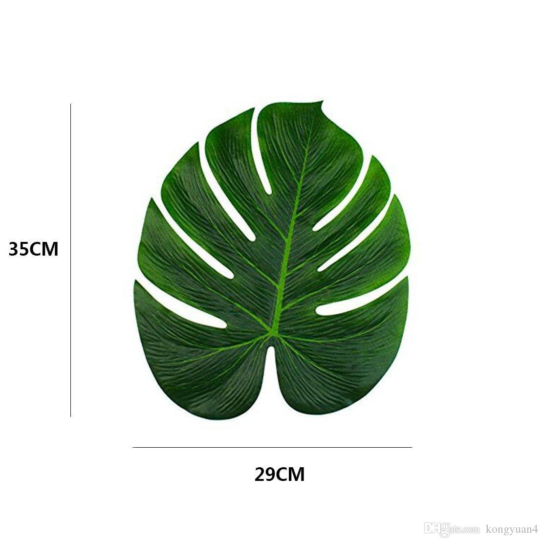 35x29 cm hojas de Palma Tropical Artificiales para Hawai Luau decoraciones del partido tema de la playa decoración de la mesa accesorios