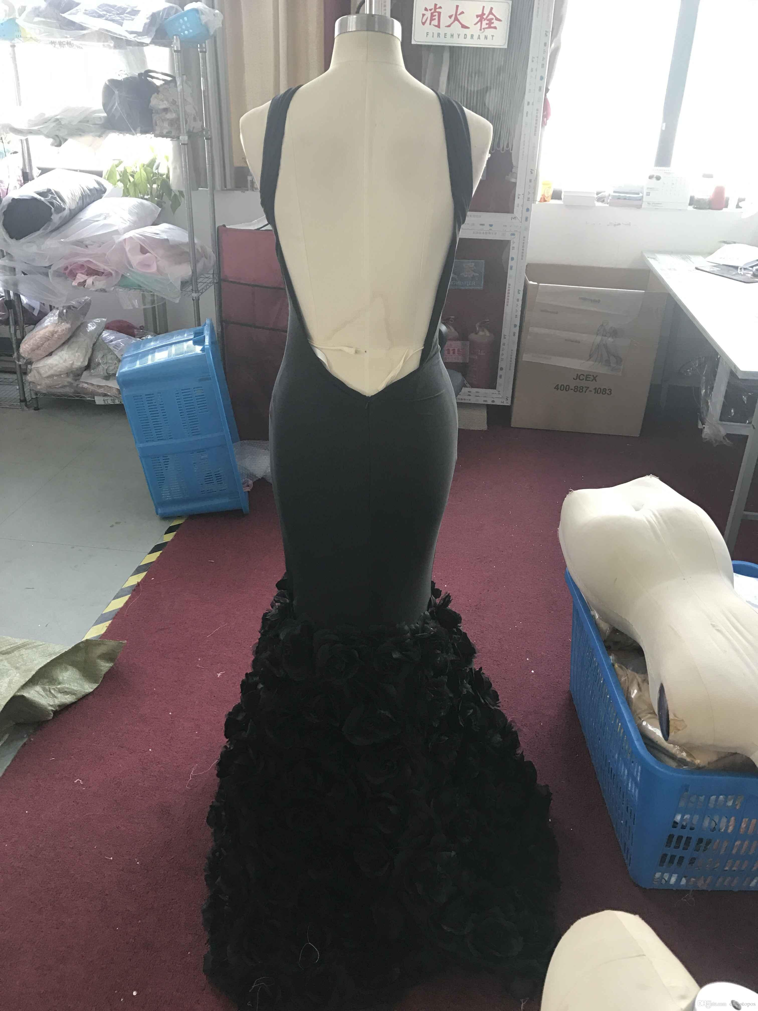 2017 vestidos de baile africanos atractivos negros de la sirena Flores hechas a mano tren vestidos sin respaldo de la tarde de la celebridad por encargo sin mangas