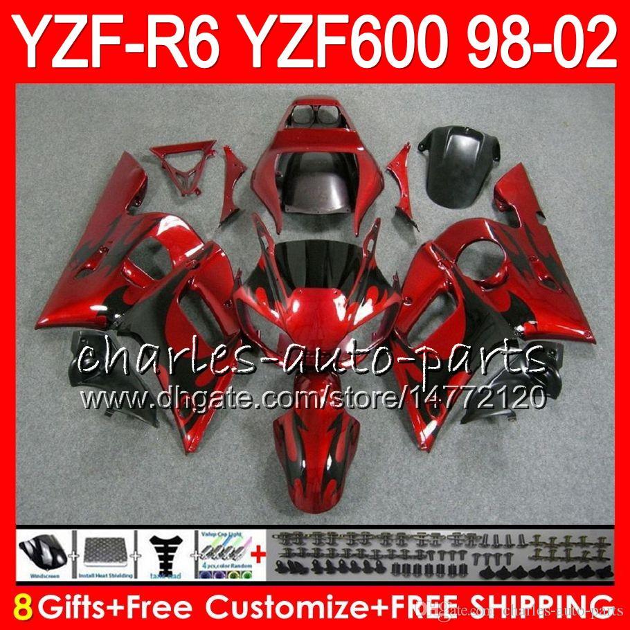 8Geschenke 23Farbe für YAMAHA YZF600 YZFR6 98 99 00 01 02 YZF-R600 54HM2 schwarze flammen YZF 600 YZF-R6 YZF R6 1998 1999 2000 2001 2002 Verkleidung kit