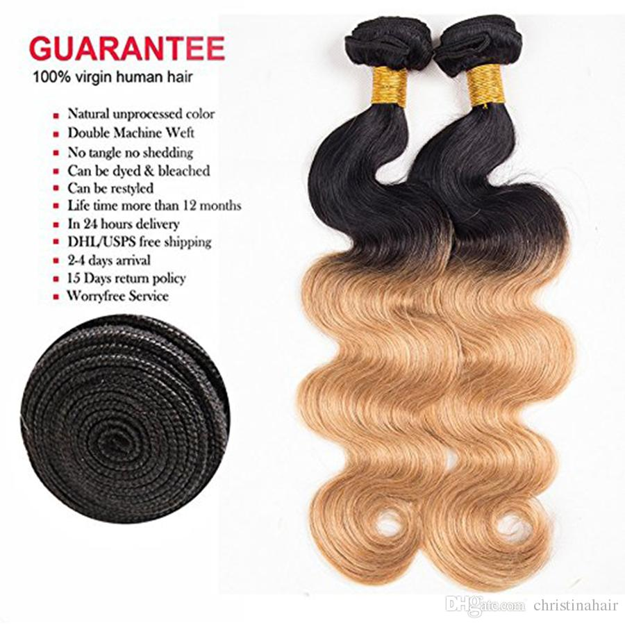 Brazilian Ombre Hair Bundles Body Wave Human Hair Extensions Cheap Ombre Virgin Hair Weave 1b/#27 Two Tone