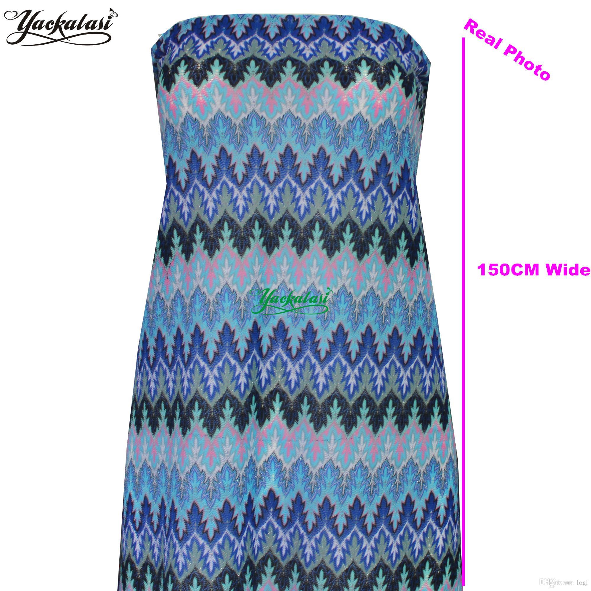 newest bbc91 77c86 YACKALASI 5 Yards / Lot Missoni Knitting Merletto Tessuti Wave Strip  Crochet Tessuto a rete Fai da te Moda panno Maple Leaf 155CM Wide