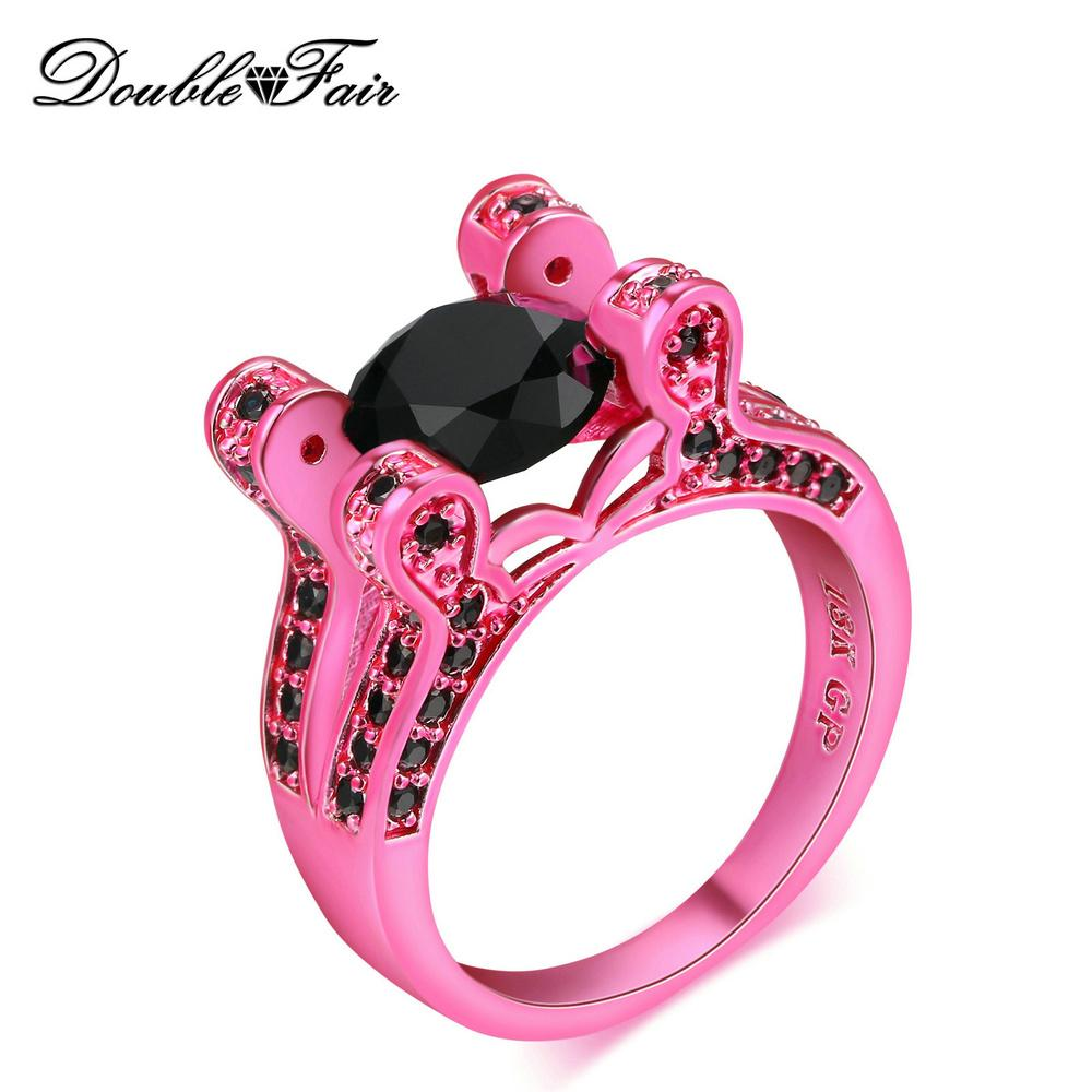 Fashion Round Pink Gold Plated Black CZ Diamond Rings For Women ...