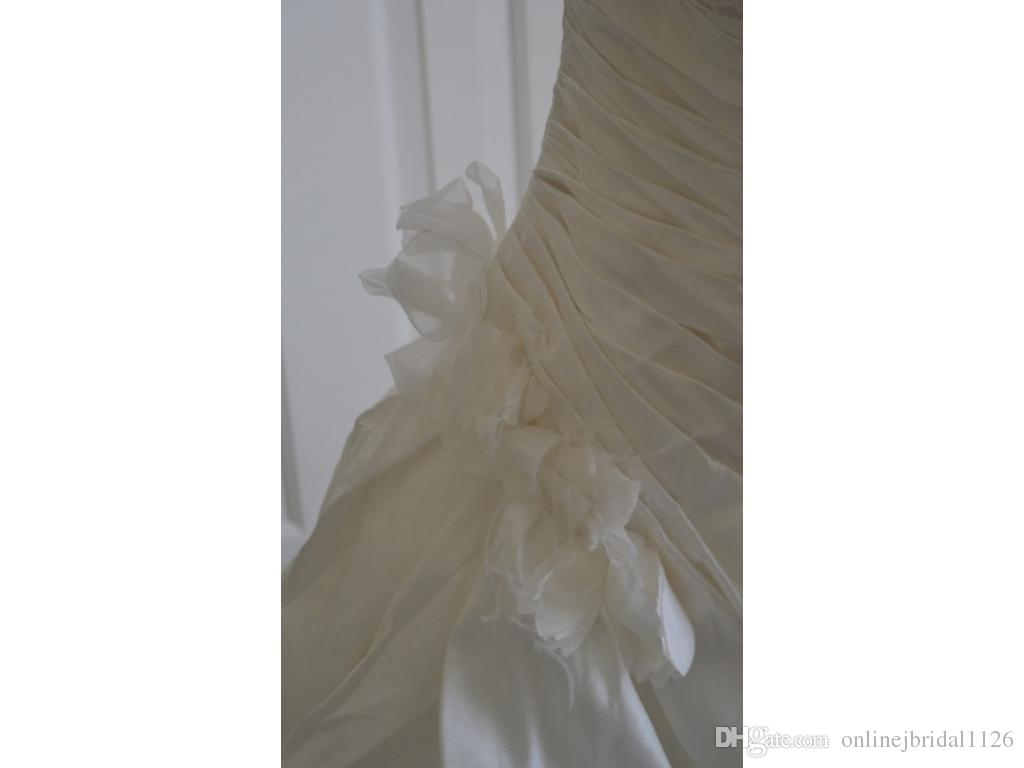 Real Sample Ball Gown COR-748 Strapless Dropped Waist Bridal Wedding Dress Taffeta Handmade Flowers Layered Skirt Casamento