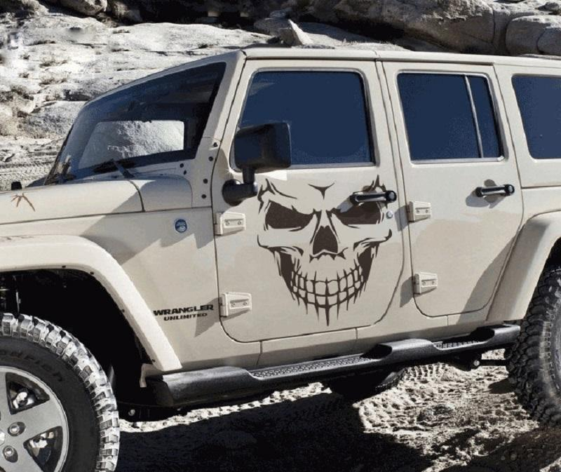 1 PC Big Size 40x36CM Punisher Skull Head car sticker Engine hood door window truck Car styling Reflective decals and stickers