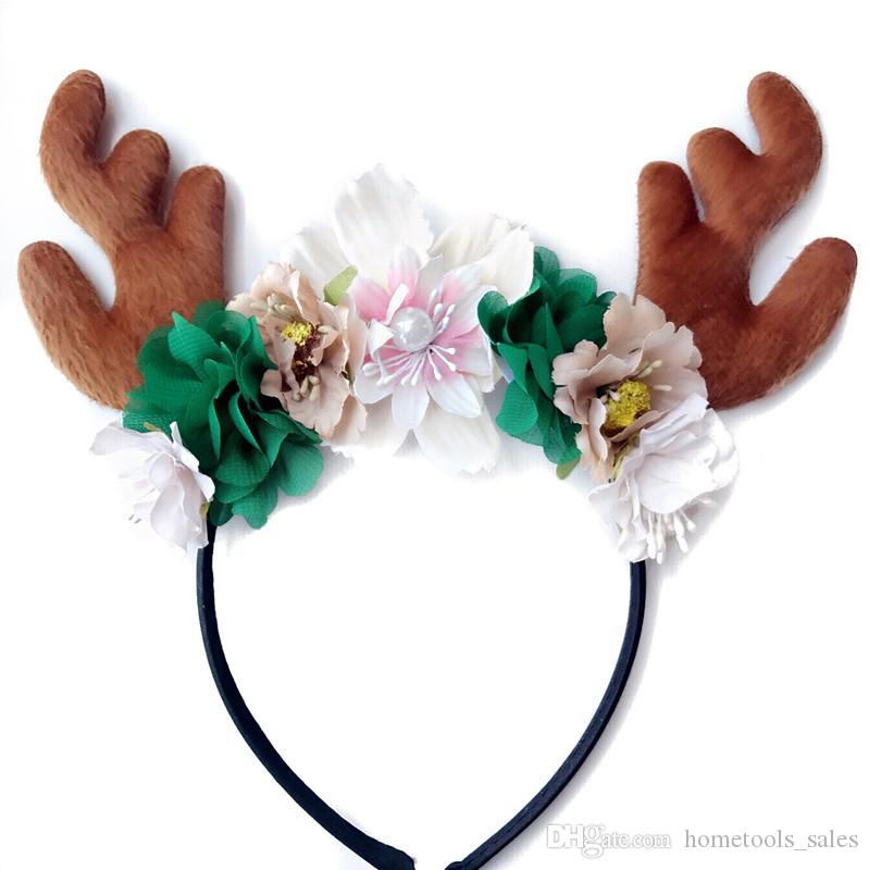 2017 Christmas Hairband For Kids Girls Diy Hair Accessories Padded Deer Antlers Headband Chiffon Flower Band Large Decorations