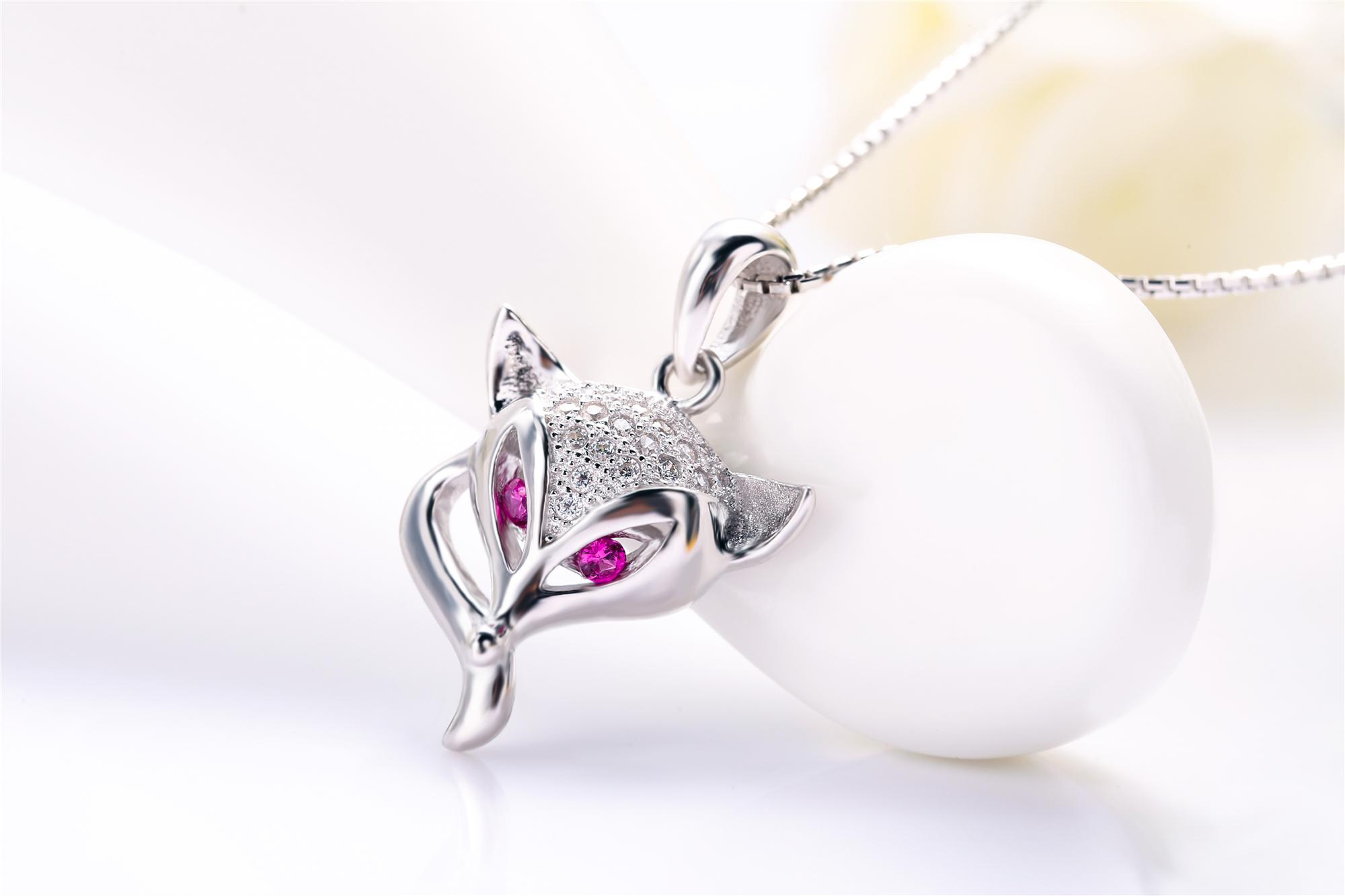 S925 sterling silver material real rhodium plated animal fox pendant high quality fashion women popular style jewellery