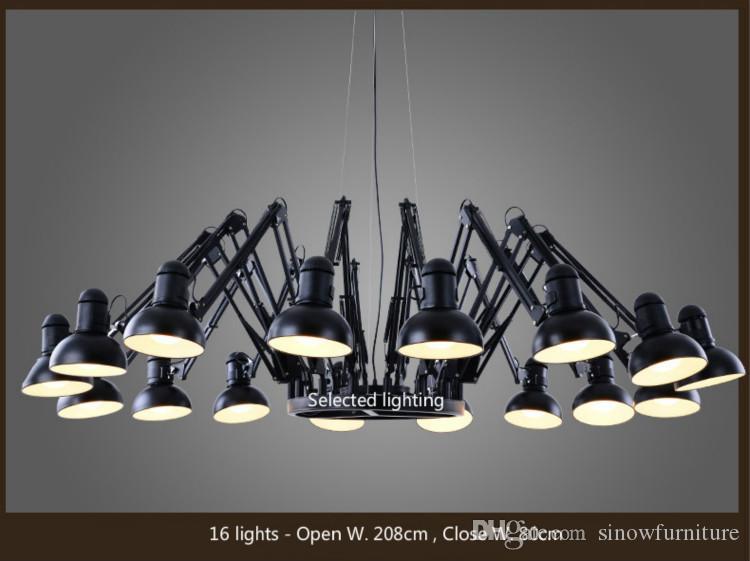 Endüstriyel Loft Avize Ferforje Örümcek Avize Aydınlatma Vintage Siyah Avizeler Lambalar E27 Ampul Lights Bar Cafe