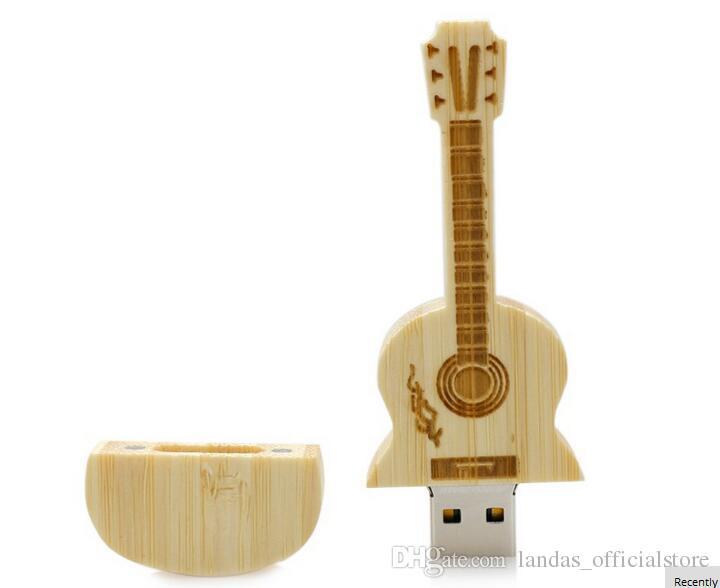 Wooden USB Pendrive Guitar shape USB Flash Drive 4GB 8GB 16GB 32GB 64GB U disk Memory Custom logo high-end Pen drives for School