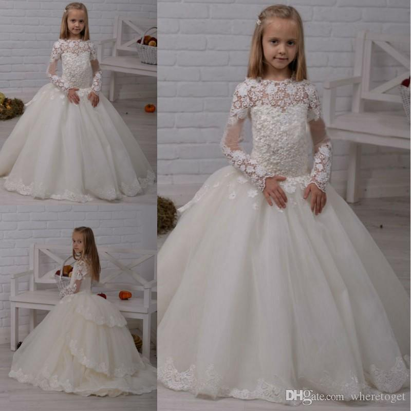 804137c7239 White Ball Gown Flower Girl Dresses Tired Lace Appliques Kids Wedding Guest  Dress Long Sleeves Court Train Pageant Dresses One Shoulder Flower Girl  Dresses ...