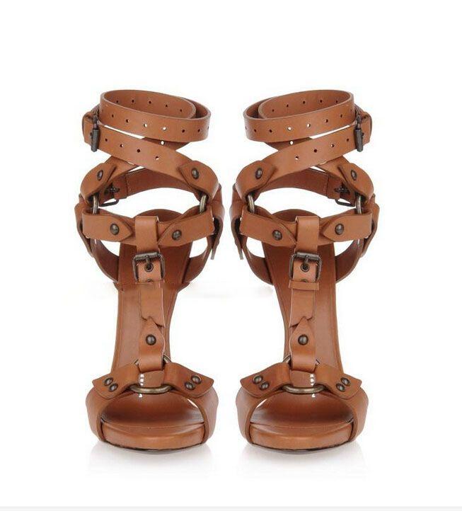 CALDO!! 2016Europa e Stati Uniti la nuova pelle di vitello albicocca fibbia cintura bocca di pesce scarpe Moda romana prendere sandali