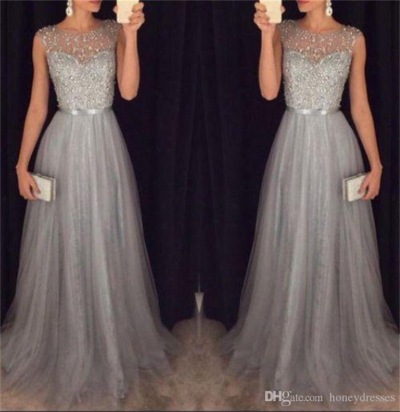 Tulle and Crystal 2017 A-line Gray Prom Dresses Jewel Sleeveless V-Backless Sweep Train 2017 Long Party Evening Dresses with Ribbons