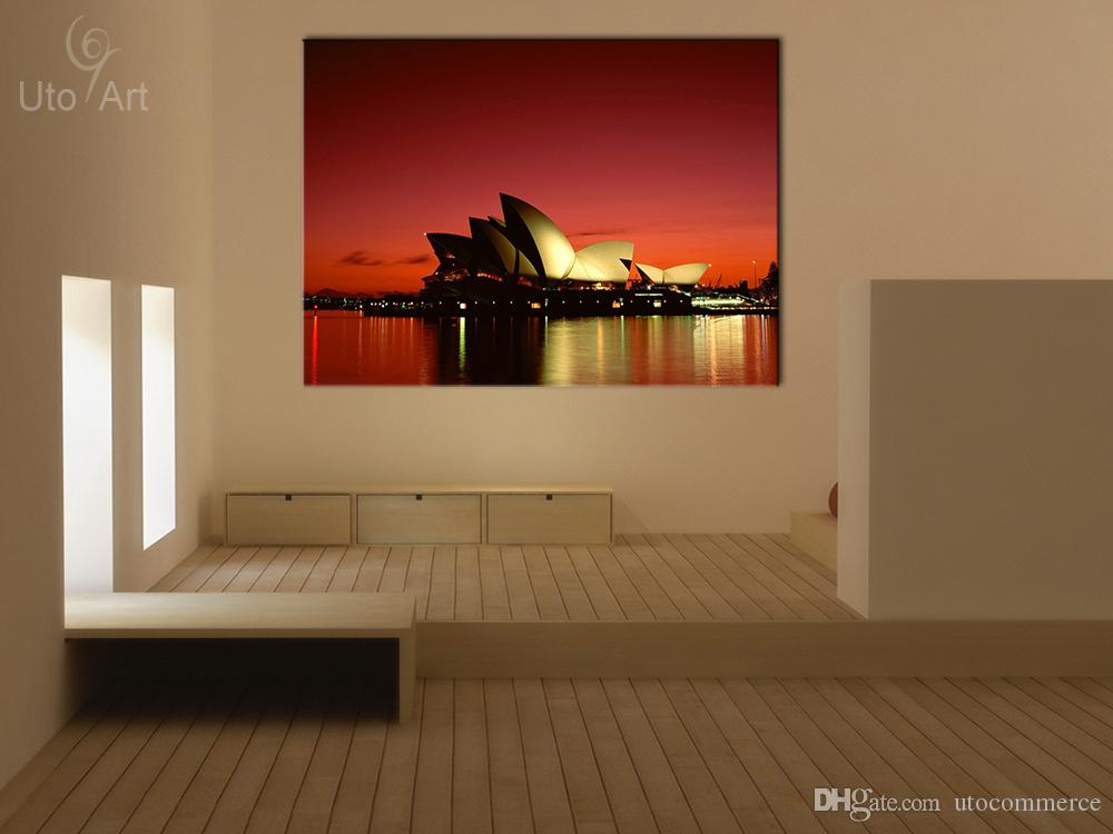 Wall Decor Painting River & Opera House Australia Landscape Art Print Home Decorative Digital Picture Canvas Printing