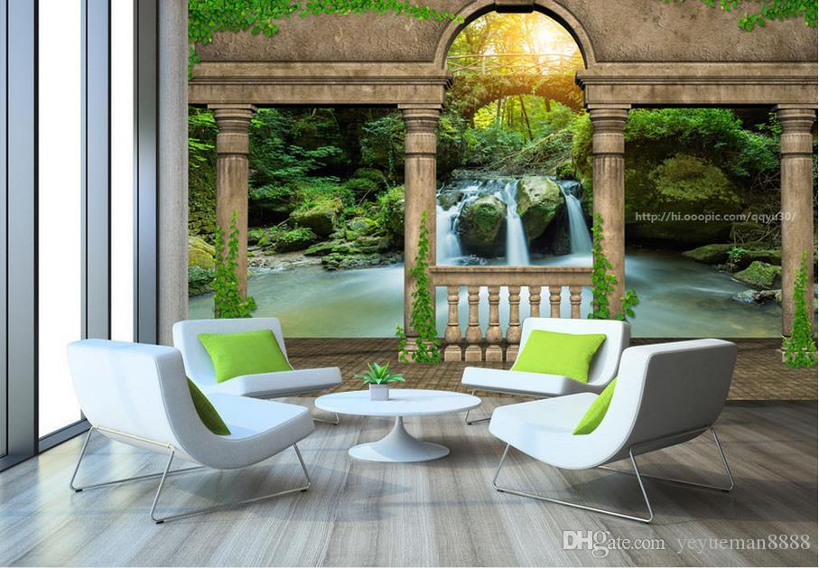 custom wallpaper for walls 3 d Hand painted retro castle scenery photo wall mural wallpapers for living room