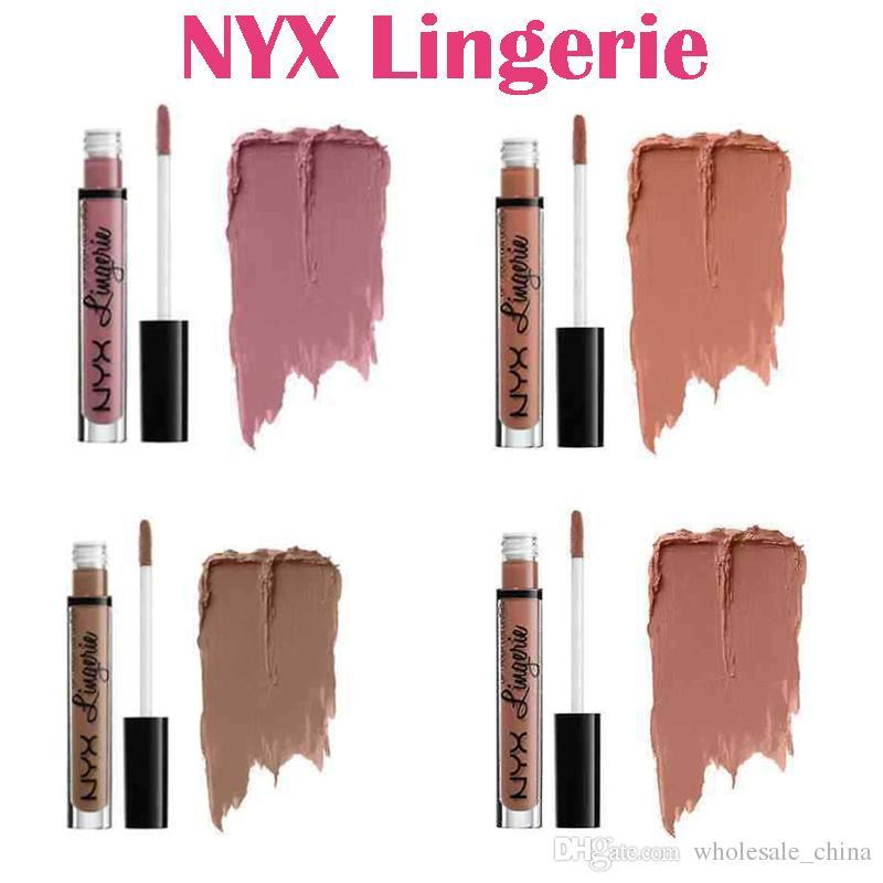 high quality lipgloss NYX lip lingerie liquid Matte Lip Cream Lipstick NYX soft matte cream Lipsticks Lipgloss 12 colors Free shipping