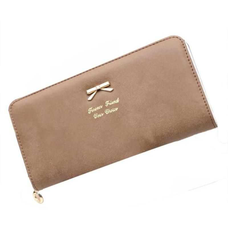 Wholesale- New Arrivals Women Bow Ladies Pu Leather Candy Colors Long Clutch Female Fashion Phone Purse Girls Pocket Money Wallet Dec1